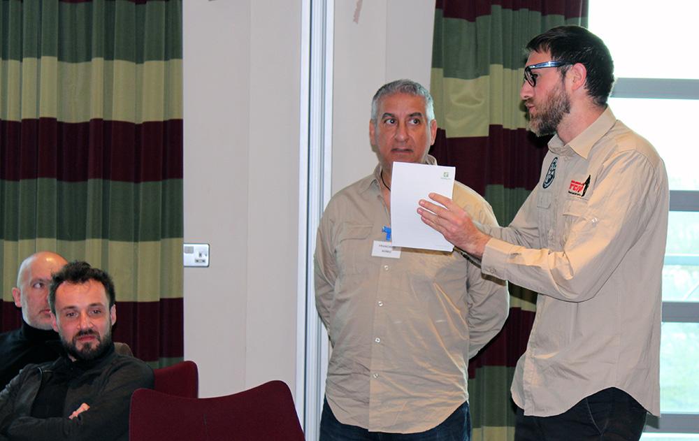 El Presidente del FEDD Pierre Astor y el Secretario Francesc Gómez, en la exposición sobre la Detecto Afición en España